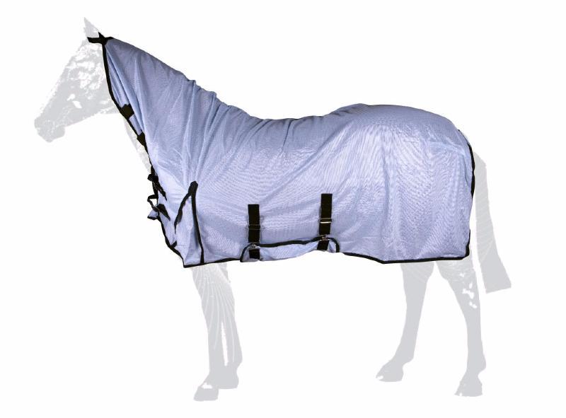 chemise anti mouches cheval encolure haute velcro et sangle crois 233 e bleue